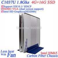 Powerful small computer mini itx htpc mini pc with intel Celeron C1037U 1.8Ghz CPU HM65 Chipset 4G RAM 16G SSD Windows or Linux
