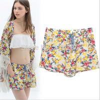 Free shipping !  2014 girls  Summer Branded Chrysanthemum Pattern Casual   Short Trousers Womens   Ladies  Pants