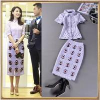 Top Quality Europe Brand Runway Design Star Fashion Twinset Women 2014 Summer Cutout Lace Blouse+Midi Pencil Skirt 2Pcs Suit Set