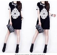 2014 Summer New  Fashion Euro Baroque Vintage Short Sleeve Plus Size O-neck Print Floral Slim Women Dress