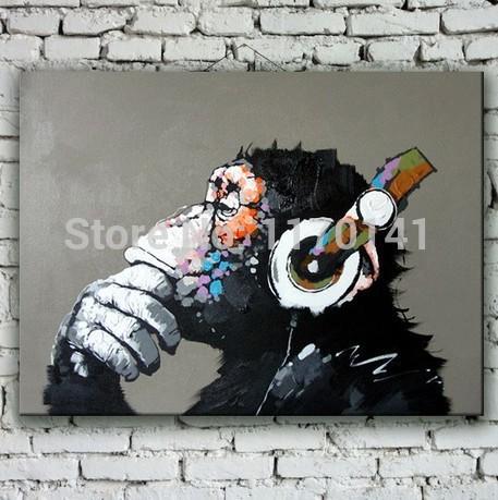 animal pintura al óleo sobre lienzo abstracto arte de la pared para la decoración del hogar habitación de los niños el pensamiento orangután pintadas a mano