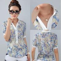 Hot Plus size M-XXXXL women's summer irregular floral printed chiffon shirt turn-down collar short sleeve  blouse free shipping