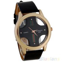 New Men's Stylish Skeleton Dial Faux Leather Analog Wrist Watch 05JL(China (Mainland))