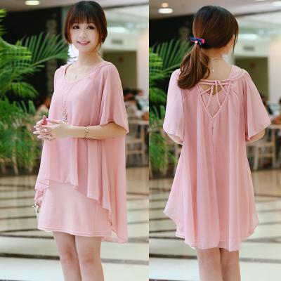 Korean Fashion Chiffon False Two Pieces Casual Loose Maternity Dress/Dresses Plus Size Summer Clothes for Pregnant,Pink,Black,XL