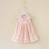 New 2014 Children's Bunk Girls Doll Collar Lace Sleeveless Princess Dresses Girls