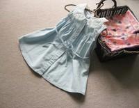 free shipping  CS4059   girls  baby  denim  vest blouse dress lace collar  1lot 5PCS