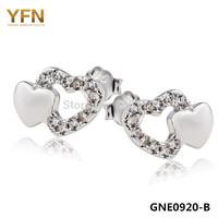 GNE0920 Hot! Free shipping Cute Zircon Hearts Earrings 10.5*7.3mm for Women Fashion 925 Sterling silver Jewelry Stud Earrings
