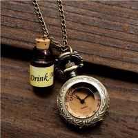 Free Shipping Vintage Steampunk Anime Alice in Wonderland Drink Me Wish Bottle Pendant Necklace Woman Dress Pocket Watch