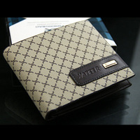 new 2014 fashiion men Classic vintage casual genuine leather plaid Business affairs small short wallet purse for men