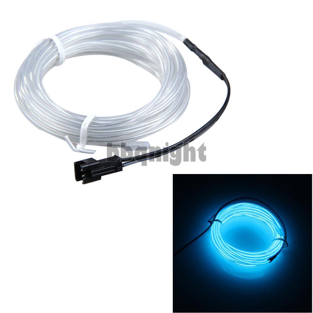 3m Flexible Transparent Blue Neon Light Car Party Glow EL Wire Strip Tube(China (Mainland))