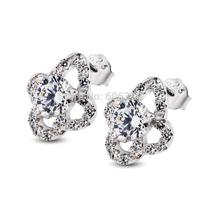 GNE0921 Hot! Free shipping Cute Zircon Flower Earrings 11.3*9mm for Women Fashion 925 Sterling silver Jewelry Stud Earrings