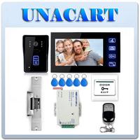 """7"""" Video Door Phone Doorbell Camera Monitor Electric Strike Lock RFID Keyfobs"""