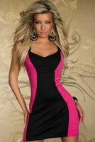 2 Color S M XL Plus Size Lace Zipper Dress For Women Brief Patchwork Quality Dress Sexy Slim Club Dresses rose white black M113