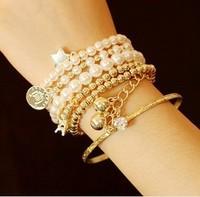 2014 new fashion Unique Jewelry Retro tower Pearl Multilayer Pendant Charm  bracelets & bangles (6pcs/set)  C0116