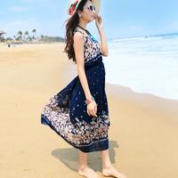 2014 Summer New Korea Style Women Dress Chiffon Floral  Maxi Long Dress Plus Size Sleeveless Long Beach Dress Bohemian Dress
