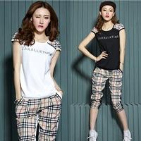 M-xxl Promotion Regular Plus Size Women The Sports Suit Clothing 2014 Summer Female Cotton Sportswear Top + Plaid Pants 2pcs/set