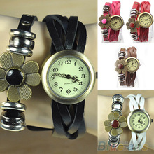 Women's Retro Weave Wrap Flower Leather Bracelet Quartz Wrist Watch 057J(China (Mainland))