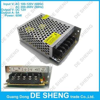 Высокое качество 12 В 5A 60 Вт алюминиевый корпус импульсный источник питания для ...