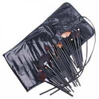 High Quality Professional 32 PCS Cosmetic Facial Make up Brush Kit Wool Makeup Brushes Tools Set with Black Leather Case