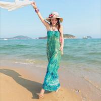 New Bohemian Style Beads Halter Strapless Long Dress Summer Sea Vacation Beach Dress Tube Top Maxi Dress For Women
