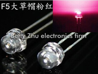1000PCS/LOT 5MM straw hat highlighted F5 transparent shell pink straw hat LED light-emitting diodes