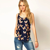 New 2014 Fashion Women Summer Sleeveless Shirt Top Printing Chiffon Blouse ST0008