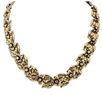 Ladies vintage flower Imitation diamond golden short Necklace For women fashion jewelry 2014 New Arrival  Free Shipping