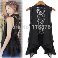 2014 Women's Vest Plus Size Chiffon Vest Medium-Long Chiffon Lace Vest Coat Outerwear Waistcoat Vests Female M-XXL Free Shipping