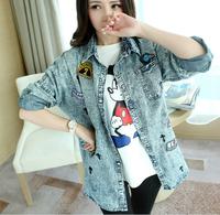 2015 new arrive camisa jeans feminina demin shirt M Ldenim jacket denim shirt the tops For women fashion