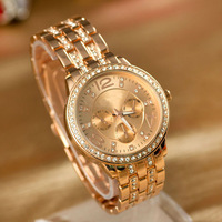 New Arrivals Rhinestone Crystal Analog Wristwatch Ladies Unisex Rose Gold Quartz Watch Gift  Free Shipping