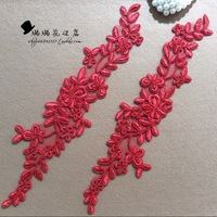 Red corded bone lace flowers applique head DIY jewelry accessoriesdress wedding shoes patches 30 * 8CM