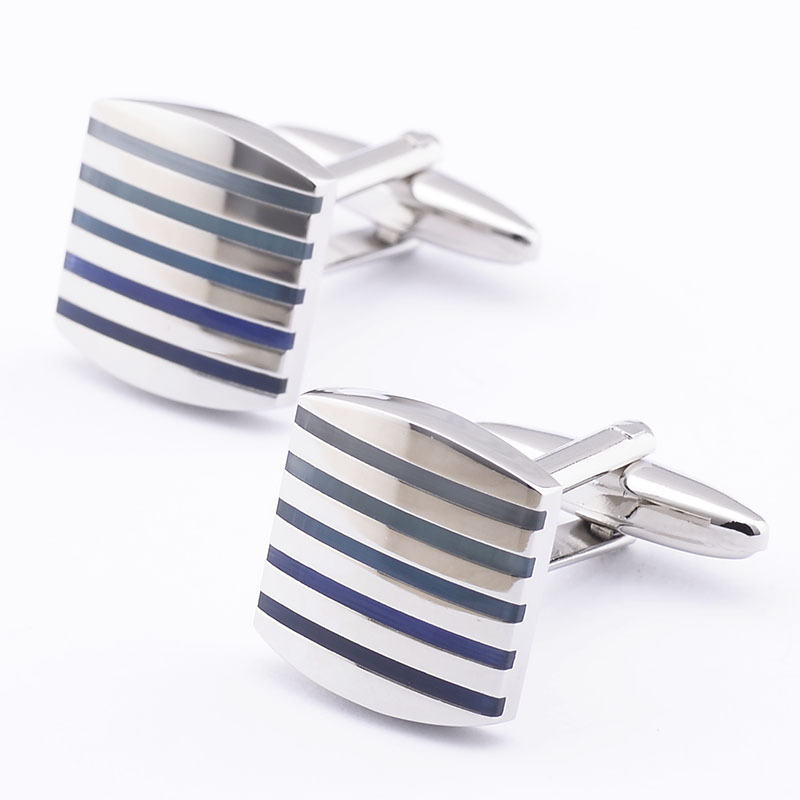 Top Quality Men's Shirt Accessories, Modern Blue And White Stripe Copper Cufflinks Silver Plated(China (Mainland))