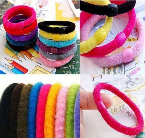 5 x Girl Soft Cotton Ring Elastic Ties Hair Band Rope(China