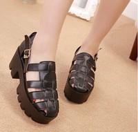 7 cm heels 2014 fashion Korea style women thick heels casual sweet comfortable buckle sandals YY5-830-3