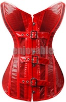 Freeship B1640 S,M,L XL 2014 New Fashion PVC Leather Solid Sexy Corsets Bustiers With Thong Bandage Corsets Red Net Button