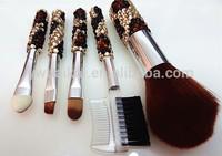 Wholesale!!!(30pcs/lot)15pcs leopard print and 15pcs silver gradient color diamond makeup brush sets