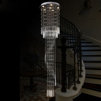 Free Shipping LED Luxury crystal long pendant lights villa dining room parlor hall foyer lobby restaurant stair pendant lamps