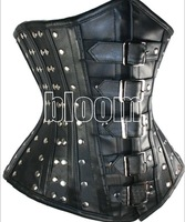 Freeship B1650 S,M,L XL 2014 New Fashion Faux Leather Solid Sexy Corsets Bustiers With Thong Bandage Corsets Rivets New Corsets