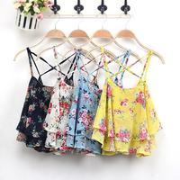 Free Shipping 2014 Fashion Women Summer Top Sleeveless Spaghetti Strap Flower Floral Print Chiffon Top Women Blouse 0012