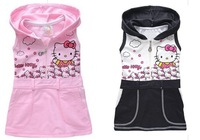 BB047 Free shipping 2014 baby girl's dress children's summer dress hello kitty gril's dress  two colors thin style retail