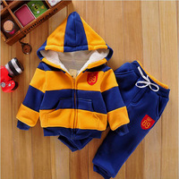 Children's clothing kids winter set  child thick infant clothes berber fleece stripe child sports set  baby clothes for boys