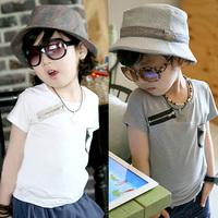 Free Shipping Boys Summer Simple Tshirts Zipper Pocket Design Short Sleeved Tops K0771