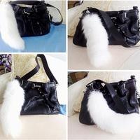 Oversized bag pendant white tail fox fur fur accessories car key chain accessories