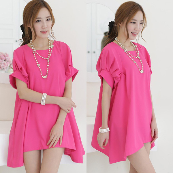 Fashion Summer Elegant Loose Chiffon Rose Red Casual Maternity Dress/Dresses Plus Size Pregnant Women Pregnancy Clothing/Clothes