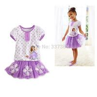 Hot Style Girls Suit Sofia Cotton Short Sleeve T-shirt + Skirt 2-Piece Sets Purple Fit 2-8 Years Children