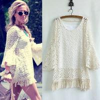 Beige White Tassel dress Lady New Vintage Hippie Boho Gypsy Festival Fringe Lace Mini Dress Top With Vest  CX655033
