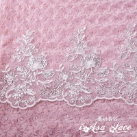 Bridal lace sequins new embroidery corded lace wedding veil trim lace accessories dedicated wide lace trimming