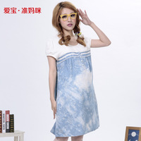 2014 summer maternity clothing maternity dressfashion denim one-piece dress for pregnant women