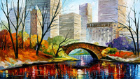 100% Hand-painted Quality Palette Knife canvas recreation oil painting -  CENTRAL PARK - NEW YORK