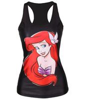 EAST KNITTING V-112 New 2014 Summer women t-shirt Little Mermaid vest Cartoon Ariel print camisole Sexy princess fashion